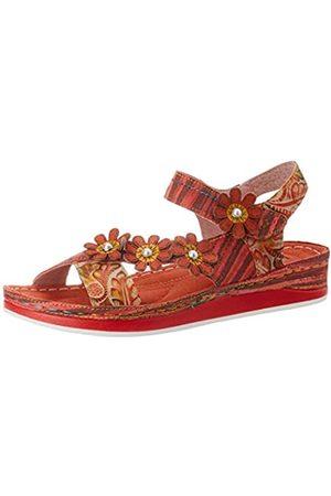LAURA VITA Women's Brcuelo 81 Open Toe Sandals, (Rouge Rouge)