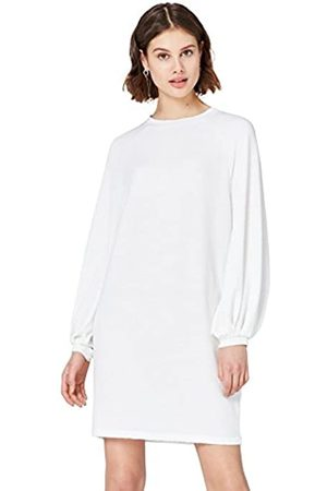FIND Women's Dress in Textured Jersey with Balloon and Long Sleeves ad Boat Neck