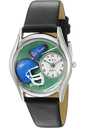 Whimsical Football Black Leather and Silvertone Unisex Quartz Watch with Dial Analogue Display and Leather Strap S-0820009