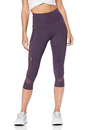 AURIQUE Amazon Brand - Women's High Waisted Capri Mesh Sports Leggings, 12