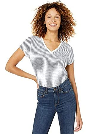 Goodthreads Vintage Cotton Pocket V-Neck T-Shirt Cream Mini Stripe