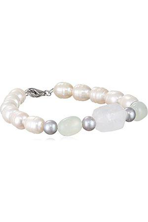 Sakura Pearl Women's Bracelet 925 Sterling Silver Rhodium-Plated Quartz Freshwater-Cultured Pearls 19 CM-On 312