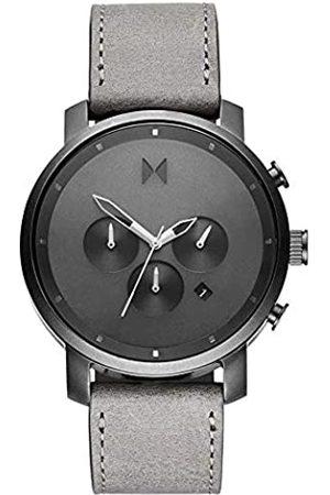 MVMT Men's Analogue Analog Quartz Watch with Real Leather Strap D-MC02-BBLGR