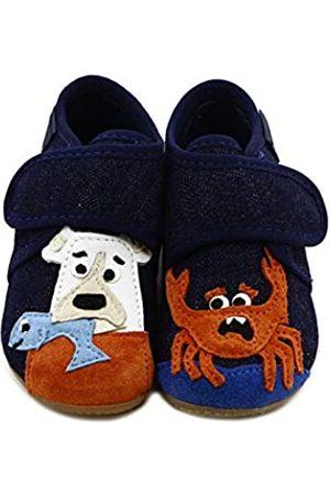 Living Kitzbühel Baby Boys' Babyklettschuh Bär und Krabbe Slippers, (Nachtblau 590)