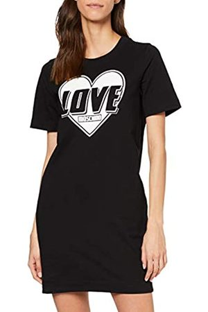 Love Moschino Women's Short Sleeve Stretch Fleece Heart & Turbo Logo Print Dress