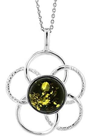Nova Silver Green Amber Interlocking Circles Textured Flower Daisy Pendant on 18 inch (46cm) Sterling Chain in presentation box