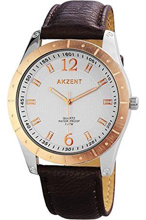 Akzent Men's Quartz Watch SS7731000023 with Leather Strap