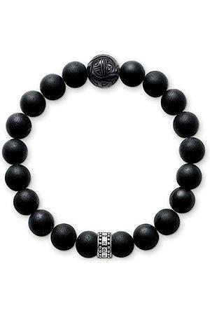 Thomas Sabo Women Men-Bracelet Rebel at heart 925 Sterling silver blackened Obsidian Length 17.5 cm A1085-023-11-M