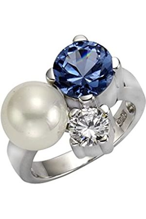 CELESTA ZEEme Pearls Women's Ring 925 Sterling Silver Rhodium-Plated Aquamarine zirconia and synthetic Pearls 273270438–3