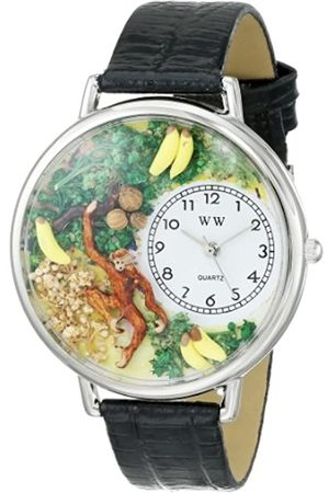 Whimsical Monkey Black Skin Leather and Silvertone Unisex Quartz Watch with Dial Analogue Display and Leather Strap U-0150008