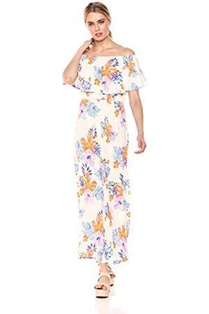 28 Palms Tropical Hawaiian Print Off Shoulder Maxi Dress Casual, Floral