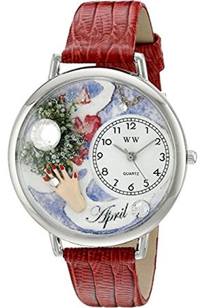 Whimsical Watches Birthstone: April Red Leather and Silvertone Unisex Quartz Watch with Dial Analogue Display and Leather Strap U-0910004