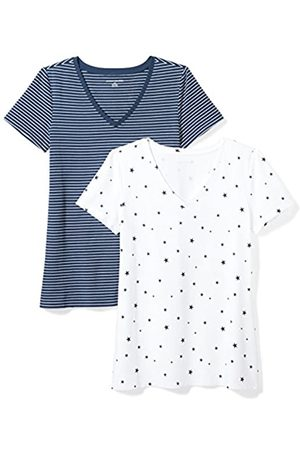 Amazon 2-pack Short-sleeve V-neck Patterned T-shirt (Navy Stripe/Star Print)
