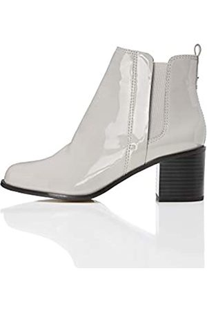 FIND Women's Boots in Chelsea Style with Block Heel, Grau (Lt )