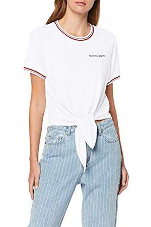 Tommy Hilfiger Women's Tjw Front Tie Contrast Rib Tee Sports Knitwear