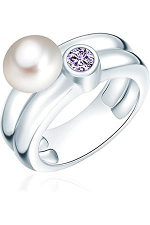 Valero Pearls Ring with Freshwater Pearl - 925 Sterling Silver - Pearl Jewellery with Cubic Zirconia - Women's Jewelry - Many Sizes, Zirconia Ring, Silver Jewelry