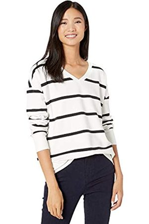 Goodthreads Modal Fleece V-Neck Drop-Shoulder Sweatshirt Large Open Stripe