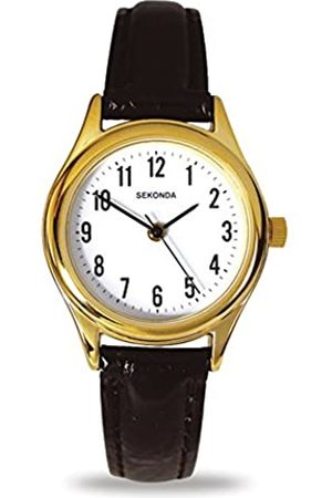 Sekonda Women's Quartz Watch with White Dial Analogue Display and Leather Strap 4493.27