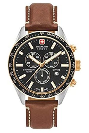Swiss Military Mens Chronograph Quartz Watch with Leather Strap 06-4314.04.007.09