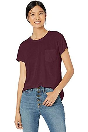 Goodthreads Washed Jersey Cotton Pocket Crewneck T-shirt Bordeaux