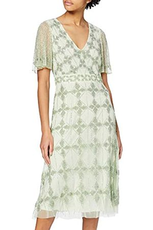 Frock and Frill Women's Judith Diamond Embellished Short Sleeve Midi Dress Party