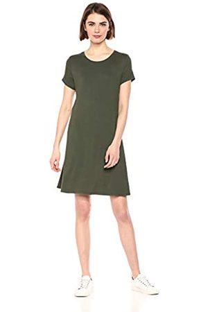 Amazon Essentials Solid Short-Sleeve Scoopneck Swing Dress Casual