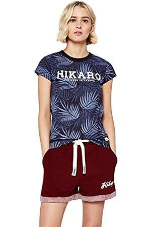 HIKARO Amazon Brand - Women's Retro Logo Print Short, Multicolour (Gingham Black / Gingham ), 14