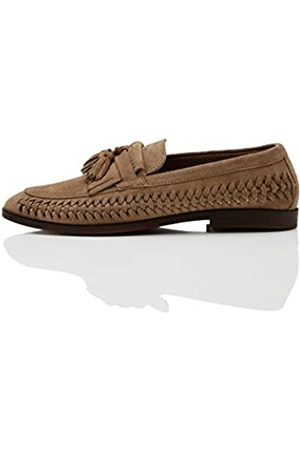 find. Woven Leather Loafers, Dark Taupe)