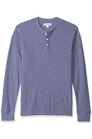 Goodthreads Men's Long-sleeve Slub Thermal Henley Shirt, Blue (denim)