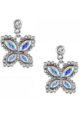 Cristalina Aurora Borealis Marquise Cut Crystal Butterfly Drop Earrings 2.4cm Long