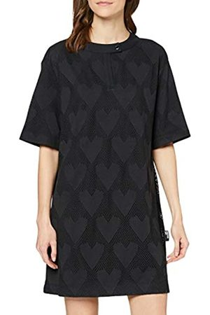 Love Moschino Women's Short Sleeve Jersey Dress_Hearts & Mesh, (C74+C74 4010)