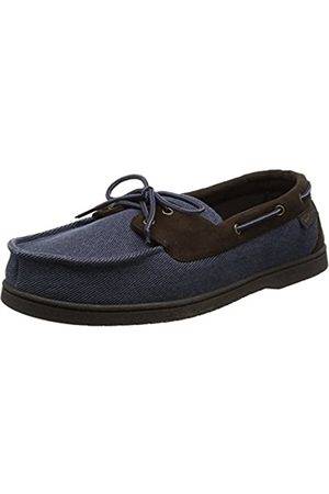 Dearfoams Men's Moccasin Open Back Slippers, (Indigo)