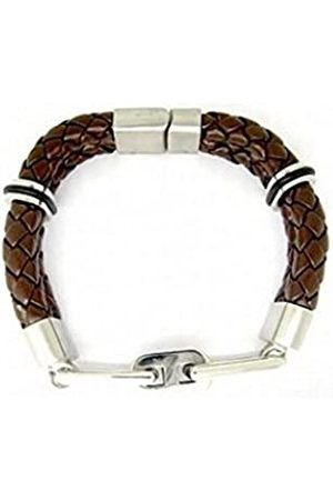 CORED C26 Bracelet Leather Braided with Stainless Steel Magnetic Clasp Dark 21 cm