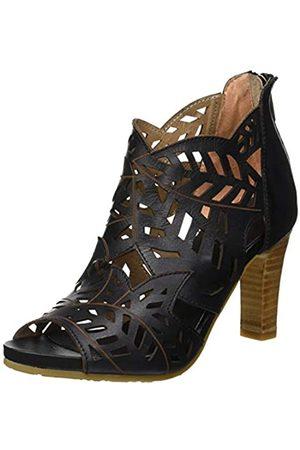 Laura Vita Women's Alcebaneo 048 Peep Toe Sandals, (Noir Noir)