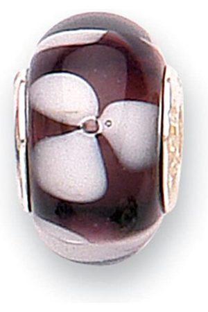 Jo Murano GlassWith CoreBlack With White Flowers Bead