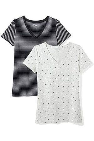 Amazon Essentials 2-pack Short-sleeve V-neck Patterned T-shirt ( Stripe/Heart Print)