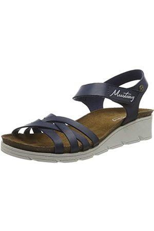 MUSTANG Women's 1318-803-800 Ankle Strap Sandals, (Dunkelblau 800)
