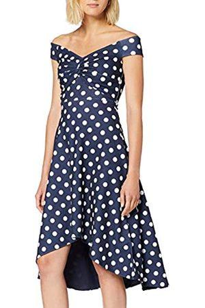 Quiz Women's Navy Knot Front Bardot DIP Hem Party Dress