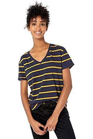 Goodthreads Washed Jersey Cotton Roll-sleeve V-neck T-shirt Navy Open Stripe