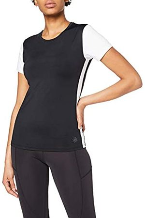 AURIQUE Amazon Brand - Women's Sports Side Stripe Colour Block Top, 14