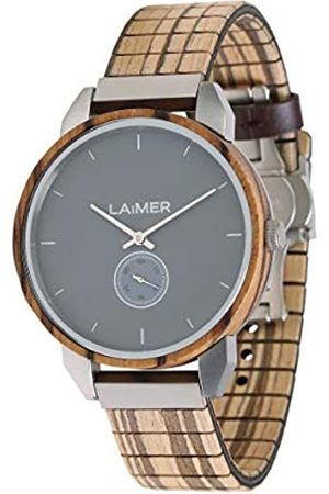 Laimer Men's Woodwatch FERDI Mod. 0095 zebrawood - Analogue Quartz-Wristwatch with flexible wood-strap