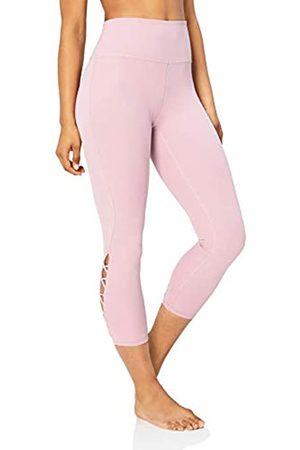 "Core 10 Women's Lattice 7/8 Yoga Crop 24"" Leggings, Purple (mauve)"