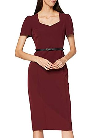 Dorothy Perkins Women's Sweetheart Neckline Ruched Sleeve Damson Dress