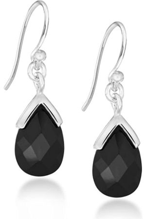 Tuscany Silver Sterling Black Cubic Zirconia Faceted Drop Earrings