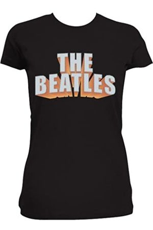 The Beatles Women/'s Drop T Logo /& Rhinestones Slim Fit Short Sleeve T-shirt,