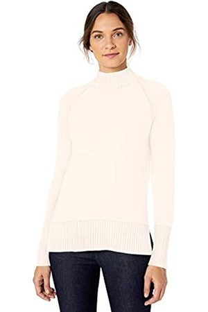 Lark & Ro Rib Detail Mock Neck Sweater Winter White