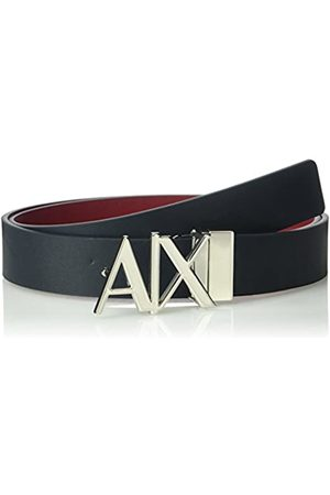 Armani Exchange Men's Everyday Logo Belt, (Navy/Rhubarb-Navy/Rhubarb 47335)