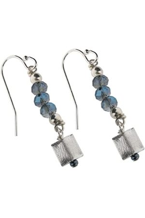 Earth Sterling Glass Bead Earrings with Square Drops