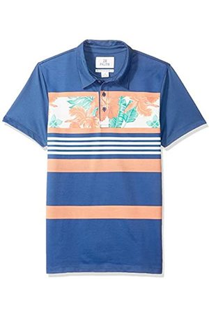 28 Palms Standard-Fit Hawaiian Performance Pique Polo Shirt Navy/Coral Floral Stripe