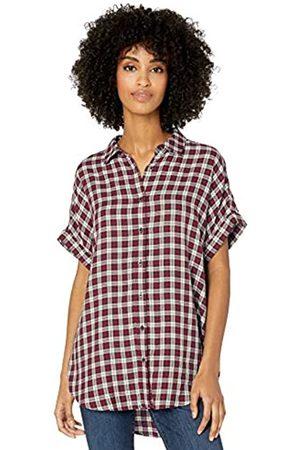 Goodthreads Modal Twill Short-sleeve Button-front Shirt Cranberry/Oatmeal Plaid
